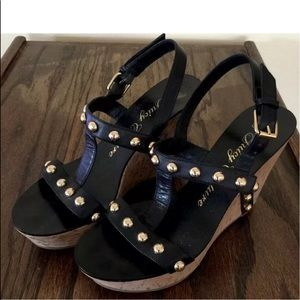 JUICY COUTURE Black Leather Gold Stud Wedges  8M